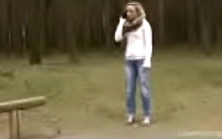 Bursting To Pee At A Park, Pretty Girl Can'_t Skip An Wetting Accident