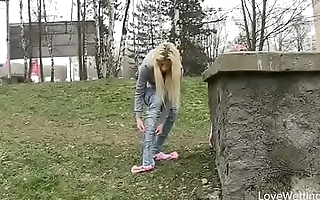 Bursting To Pee In Public, Pulling Young Girl Can'_t Skip A Wetting Accident