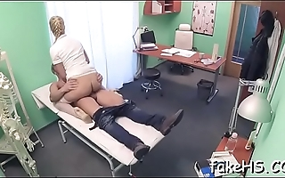 Hard cock permeates doctor'_s bawdy cleft