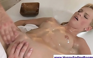 Flexible massage babe spreads for a pussy rub