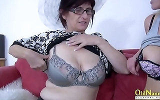 OldNannY Mature is Playing with Of a male effeminate Friend