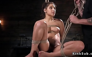 Sexy slave beside lingerie tied up beside ropes