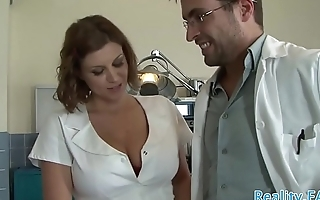 Busty nurse screwed by their way patient
