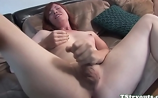 Mature tranny wanks her cock at casting