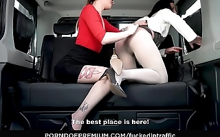 FUCKED IN TRAFFIC &ndash_ Wild backseat sex fest with hottie Therese Bizzare