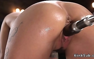 Alt hottie with huge tits fucks machine