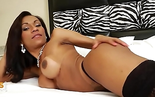 Big tits Brazilian Tranny horny on her bed