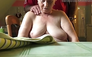 76 year elderly mother in law,nice tits