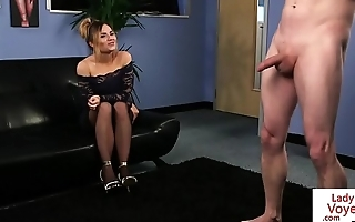 Alluring CFNM beauty dominates over sub guy