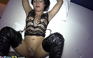 Ladyboy in tigh mighty boots gets barebacked POV style