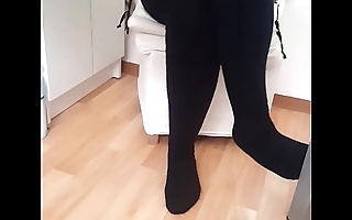 Girlfriends sister with socks under tabe very sexy feets with socks