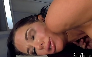 Busty machine MILF stuffed in ass and pussy