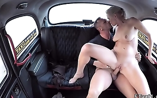 Blonde taxi driver banging in her cab in public