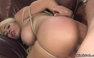 Dude anal bangs busty blonde in bondage