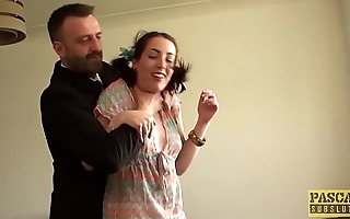 English subslut punished and facialized by rough dom