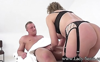 British MILF Sonia gives a massage and gets fucked good