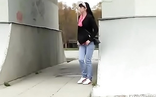 Bursting To Take a leak In Public, Pretty Young Girl Has No Privacy To Relief Herself